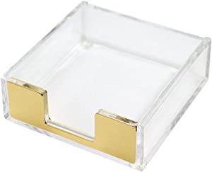 Clear Gold Sticky Note Pad Holder for Desk, Memo Holder Paper Dispenser, Multibey Acrylic Desktop Accessories Organizer for Office School Home(Gold)