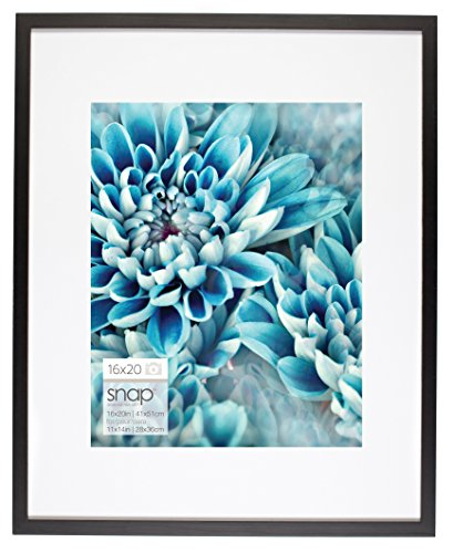 Snap 16x20 Black Wall Picture Frame with Single White Mat for 11x14 Picture ()