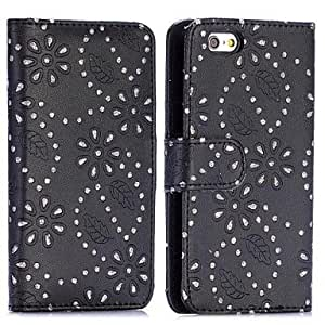 Mini - Glittery Powder Maple Leaf Flowers Pattern Card Slot Flip Stand PC+PU Leather Case for iPhone 6 , Color-Black