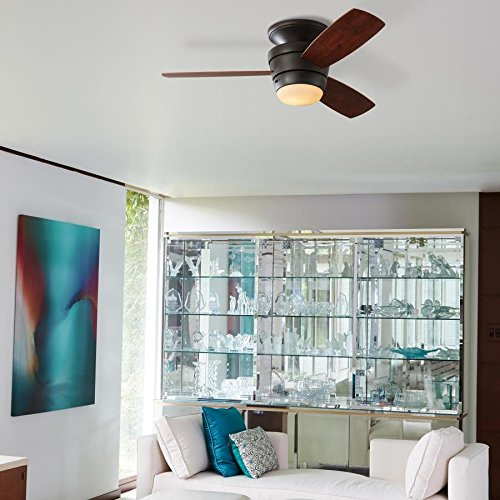 Harbor Breeze 00725 3-Blade Mazon 44-in Oil-Rubbed bronze Integrated LED Indoor Flush Mount Ceiling Fan with Light Kit and Remote