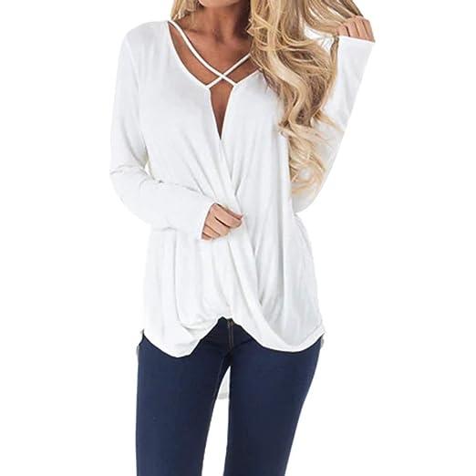 39fd694735300c Womens Casual Criss Cross Wrap Top T-Shirt,Long Sleeve Lightweight V-Neck