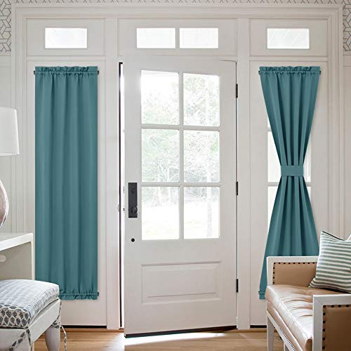 NICETOWN Blackout Side Window Curtain - French Door Sidelight Front Entry Way Thermal Insulated Door Window Blinds Shades Curtain Panel Drape, 1 Panel, 25W by 72L inches, Sea Teal