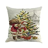 Gotd Pillows Cases Covers Decorative Christmas Protector Bed Chair Couch Sofa Waist Throw Cushion Home Decor Square Standard Size 45cm 18x18 inch (Xmas C) (Xmas H)