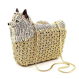 Rjj Diamond Animal Care Styling Banquet Evening Bag Luxury Rhinestone Metal Chain Shoulder-Shoulder Bag Pu Wallet Wedding Gift Bride Dress Clutches Bags for Women Exquisite (Color : Gold)