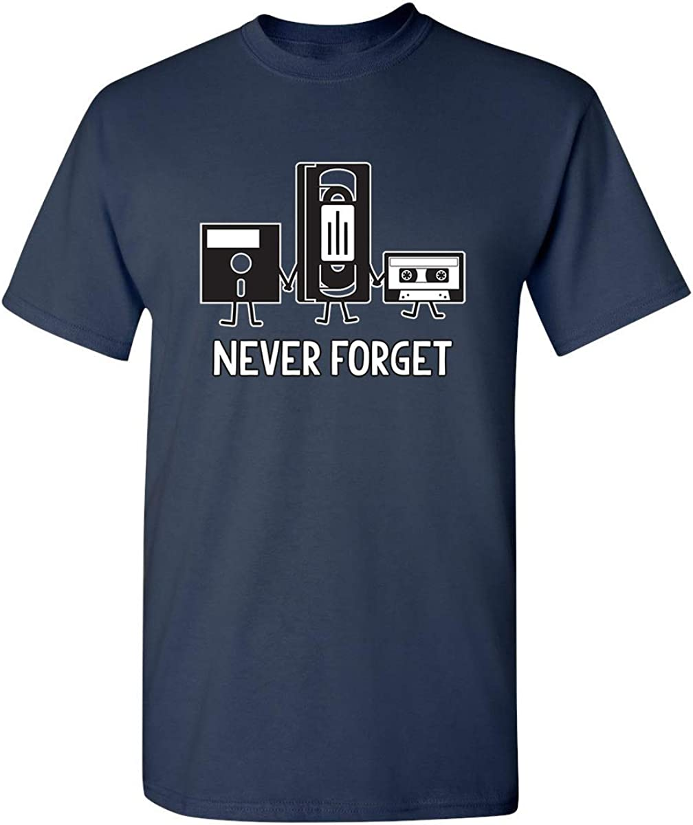 Never Forget Retro Vintage Cassette Tape Graphic Novelty Mens Funny T Shirt