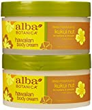 Alba Botanica Hawaiian Body Cream, Kukui nut, 6.5-Ounce Jar,2 pack