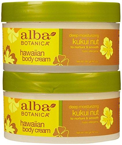 Alba Botanica Hawaiian Body Cream, Kukui nut, 6.5-Ounce Jar,2 pack