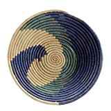 Ten Thousand Villages Raffia and Palm Leaves Basket 'Blue Spell Basket'