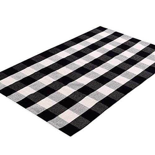 - Ukeler Black and White Rug 3×5- Cotton Farmhouse Layered Doormat Hand-Woven Checkered Carpet Plaid Rug for Doorway/Kitchen/Bathroom/Entry Way/Laundry Room/Bedroom