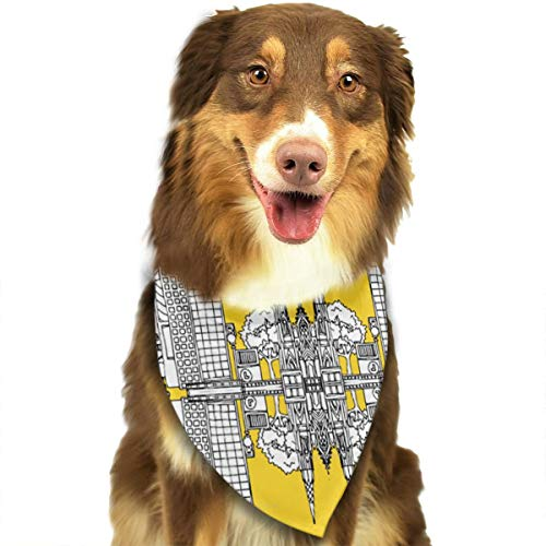OURFASHION York Yellow Bandana Triangle Bibs Scarfs Accessories for Pet Cats and Puppies.Size is About 27.6x11.8 Inches (70x30cm). -