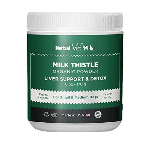 Herbal Vet Certified Organic Milk Thistle Powder for Cats and Dogs - Easy to Mix with Wet or Dry Food- Promotes Healthy Liver Function and Detox for Pets (6 OZ for Small and Medium Dogs) 6 Ounce Thistle