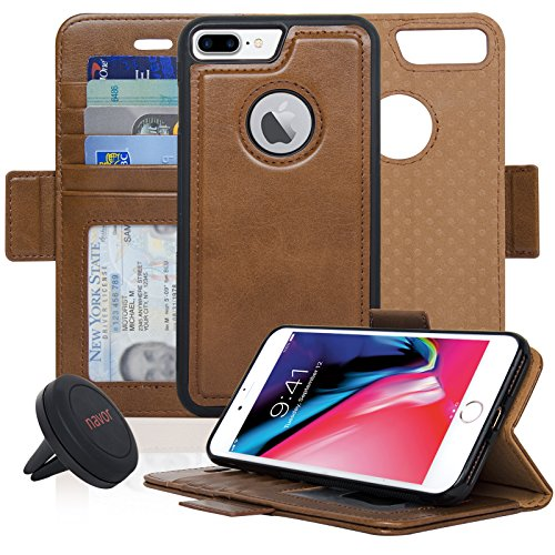 Navor Detachable Magnetic Wallet Case and Universal Car Mount Compatible for iPhone 8 Plus [RFID Protection] [Vajio Series]-Brown
