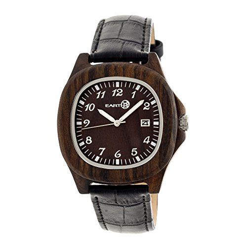 Earth Wood ETHEW2702 Sherwood Dark Brown Crocodile-Embossed Watch