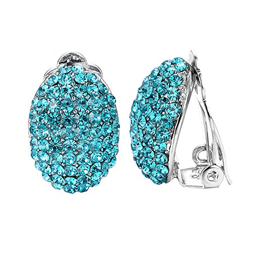 (Yoursfs Clip Earrings For Women With Round Austrian Crystals Non Pierced Ears Clip-On Earrings (Blue Rhinestone Earrings))