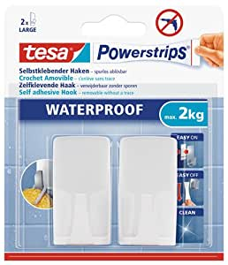 Tesa 59701-00000-00 - Gancho de plástico para baño, color blanco