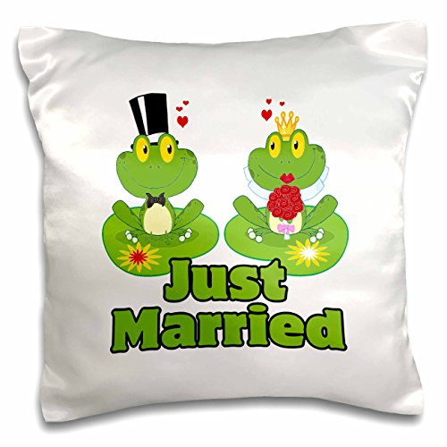 Froggy Pillow - 3dRose Just Married Bride and Groom Froggy Frogs-Pillow Case, 16 by 16