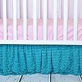 Teal Ruffled Crib Skirts - Extra Long Dust Ruffle 3 Sided Baby Bedskirt for Girl Nursery Bedding