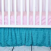 Teal Ruffled Crib Skirts - Extra Long Dust Ruffle 3 Sided Baby Bedskirt for Girl Nursery Bedding