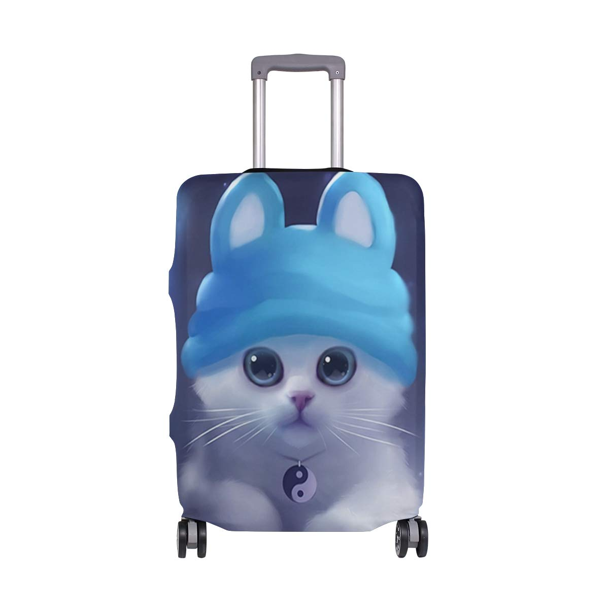 Watercolor Painting Black White Kitten suitcase cover elastic suitcase cover zipper luggage case removable cleaning suitable for 29-32 trunk cover