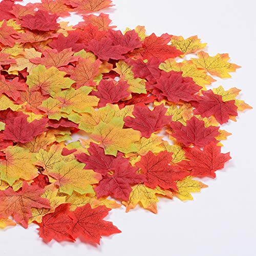 Lvydec 300 Pcs Fall Maple Leaves, 6 Color Artficial Autumn Leaves Decoration for Wedding Party Home Thanksgiving Day DIY and Craft