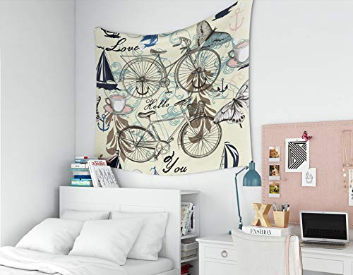 (EMMTEEY Tapestry Wall Hanging Décor Room Living Bedroom for Home Inhouse by Printed 60x50 Inches for Wall Hanging Retro Styled Pattern Bicycles Butterflies Ornament Ships Fabric Wallpaper)