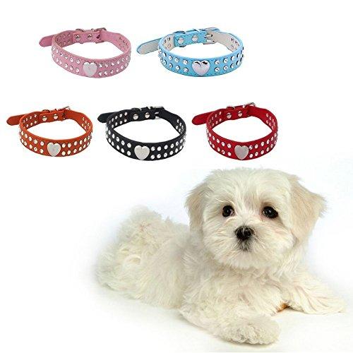 La Vie Hundehalsband, größenverstellbar, PU-Leder, mit Strassbesatz, für kleine Hunde / Katzen, in 2 verschiedenen Größen erhältlich