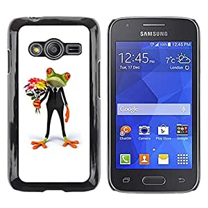 LECELL--Funda protectora / Cubierta / Piel For Samsung Galaxy Ace 4 G313 SM-G313F -- Flowers Frog Gift Love White --