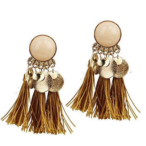 Waldenn Women Fashion Bohemian Earrings Vintage Boho Long Tassel Fringe Dangle Earrings | Model ERRNGS - 9199 | ()