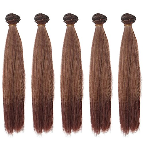 5pcs/lot 25cm Long Straight Synthetic Dark Brown Handcraft Hair Extensions for Making BJD Blythe Pullip Doll's Wig by MUZI WIG