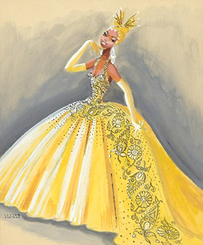 Josephine Baker - Yellow Gown Vintage Poster (artist: Bertaux) France c. 1946 (16x24 Giclee Gallery Print, Wall Decor Travel Poster)