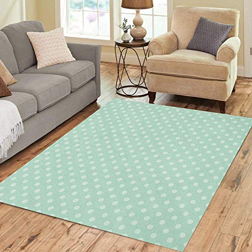 Pinbeam Area Rug Blue Polka Mint Green Pattern Baby Pastel Abstract Home Decor Floor Rug 5' x 7' Carpet