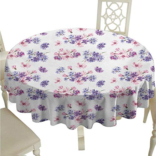 longbuyer Round Tablecloth Watercolor,Floral Pattern with Wedding Inspired Blossoming Nature Bridal Bouquet,Lilac Lavender Pink D36,for Cards