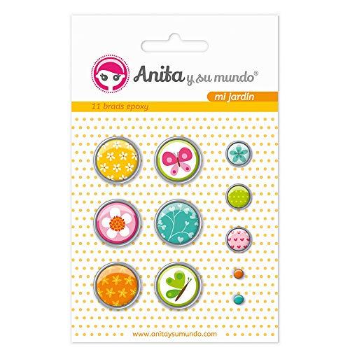 Anita and Su Mundo 37050118 - Pack of 11 Brads, Epoxy My Garden Design