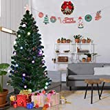 Goplus 6.5FT Fiber Optic Christmas Tree Pre-Lit Artificial Fireworks Spruce Tree w/ Multicolor LED Lights, Top Star & Blossom Bell Decorations