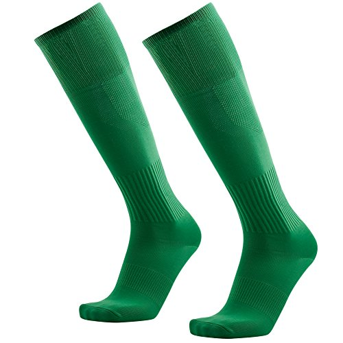 3street Soccer Socks Men, Adult Youth Breathable Moisture Wicking Athletic Long Solid Color Volleyball Baseball Football Compression Tube Socks Back to School Green 2 Pairs - Youth Solid Football Sock