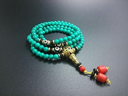 The Art of Cure Healing Jewelry & Mala Meditation Beads (108 Beads on a Strand) (Tibetan Turquoise)