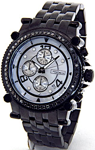 lack Diamond Watch Chronograph Mens Black Case Black Metal Band MJ-1172B ()