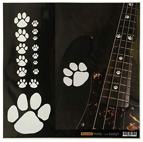 (Animal Foot Prints (Solid White) Cat Fret Markers Inlay Sticker Decals Guitar & Bass)