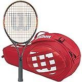 Wilson Burn Team Junior 21 Inch Black/Orange Tennis Racquet bundled with a Red Match Junior 3 Pack Tennis Bag