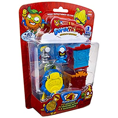 SuperThings Series 1 - Blister Pack (4) by Goliath - Contains 3 Characters, 1 Rare Silver Character, 2 Hideouts, 1 Super Blaster & 3 Super Discs, 108683: Toys & Games