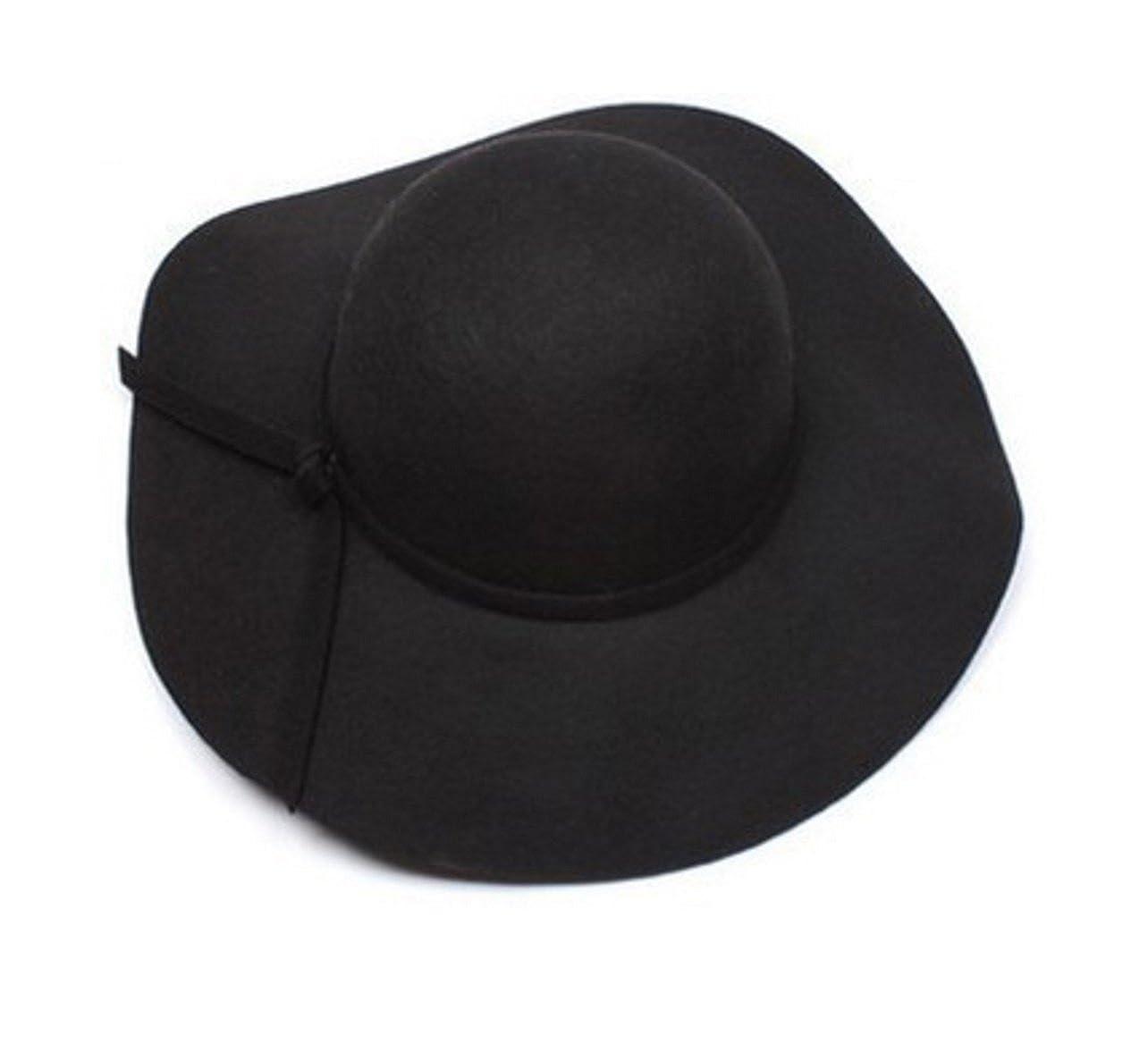 cfed9f65b64a3 Amazon.com  Onlineb2c Vintage Baby Girls Floppy Wide Brim Wool Felt Fedora  Cloche Hat Cap (Black)  Clothing