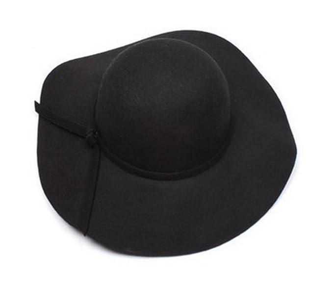 Onlineb2c Vintage Baby Girls Floppy Wide Brim Wool Felt Fedora Cloche Hat  Cap (Black) 5ac46e51e01