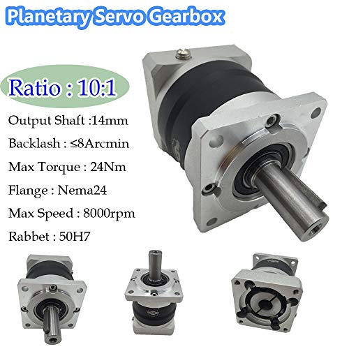 - Fevas Gear Ratio 10:1 Planetary Servo Gearbox Nema24 8ARCMIN Backlash 60mm Flange Servo Geared Speed Reducer CNC