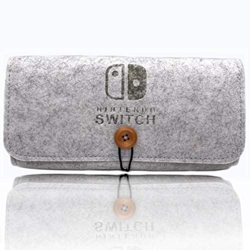 (Akiimy Travel Carrying Case for Nintendo Switch -Handheld Shockproof Protective Cover Portable Travel Bag Game Card Slots and Inner Pocket for Nintendo Switch Console and Accessories (Light Grey))