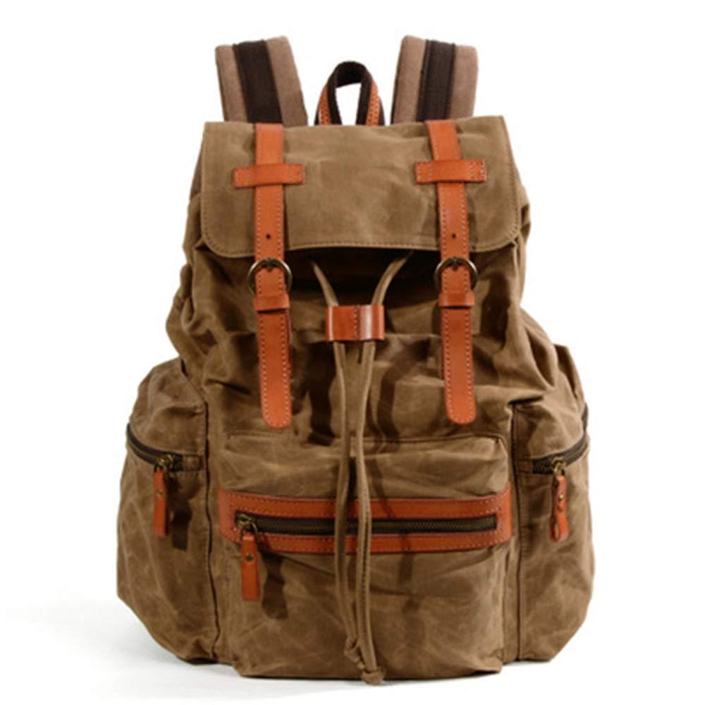 LII 革のバックパックアウトドアスポーツとレジャーのバックパック学生キャンバスバッグと新しい防水キャンバスバックパック (Color : 3, Size : L) B07Q2BF1SP