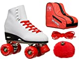 Epic Skates Epic White and Red Classic High-Top Quad Roller Skate Bundle with Bag, Laces, and Pompoms 10