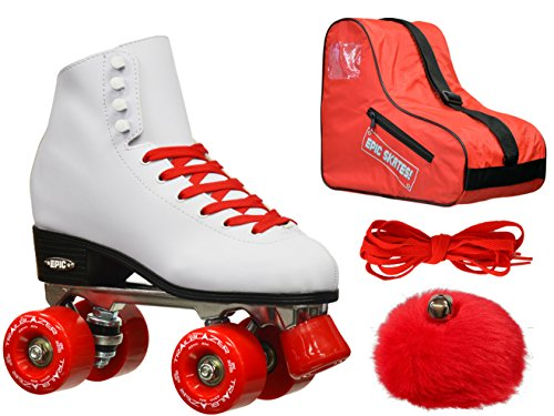 ! Epic Classic White & Red High-Top Quad Roller Skate 4 P...