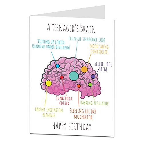 Funny Birthday CardTeenagers Brain Perfect For 14th 15th 16th 17th Son Daughter Niece Nephew