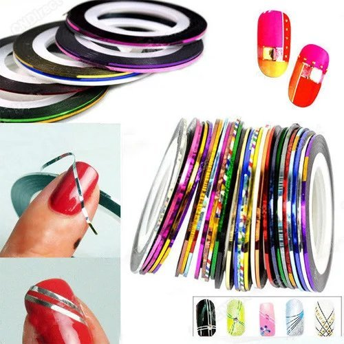 Brendacosmetic 20 Sheets Mixed Color Nail Decal Tapes for 2016 Summer Nail Art,Decoration Sticker Line for Home (Halloween Lip Tattoos Uk)