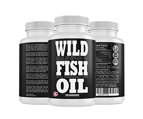 Wild Fish Oil, U.S. Caught Omega-3 DPA, DHA & EPA - 60 Burpless Gel caps, Non-GMO, Sustainable Certified, Tested for Purity (60 Capsules) (Difference Between Dha And Epa Fish Oil)